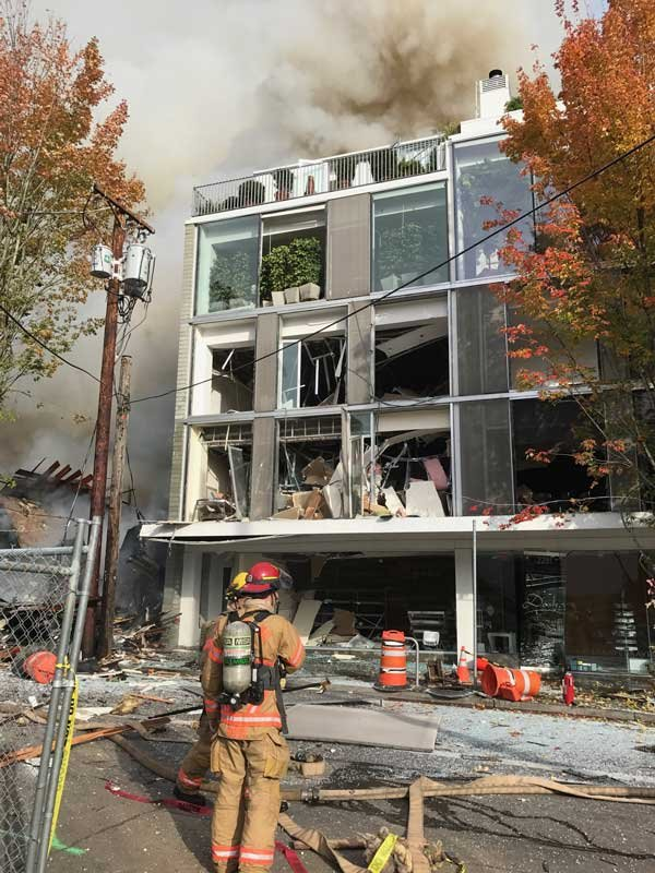 A four-story building damaged in a natural gas explosion in NW Portland will be repaired. (Photo: Portland Fire and Rescue)