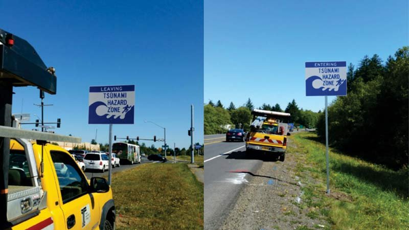 Tsunami hazard zone signs on the Oregon coast. (Photo: Oregon Department of Geology and Mineral Industries)