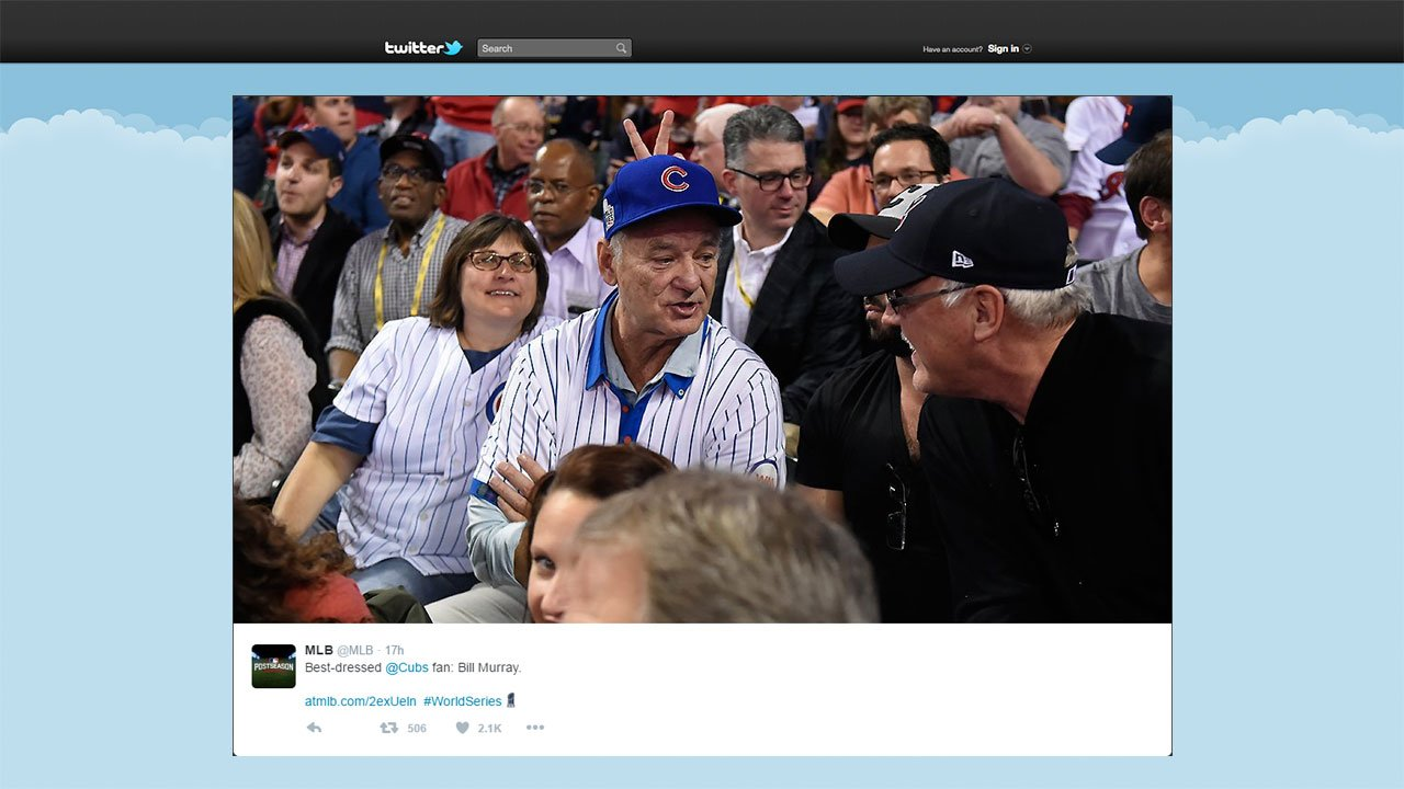 Actor Bill Murray surprised a fellow Cubs fan outside of  Progressive Field in Cleveland Tuesday night with a ticket to sit with him during Game 6 of the World Series. (MLB.com/Twitter)