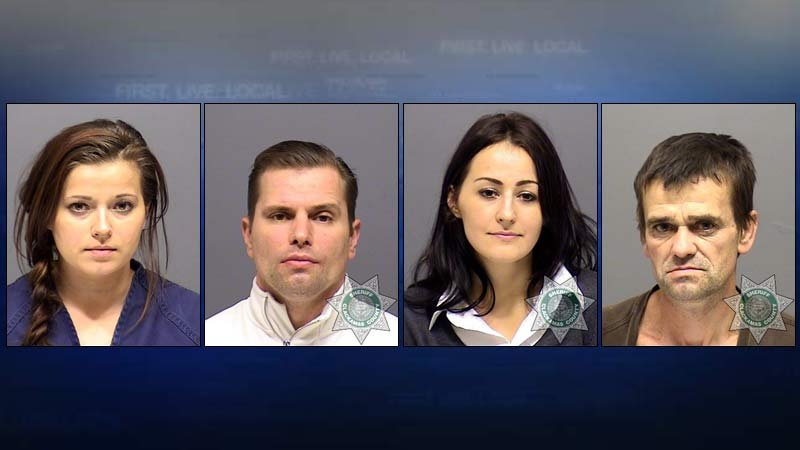 Jail booking photos: Natalya Koroteev, Ivan Koroteev, Irina Koroteev, Dmitry Koroteev.