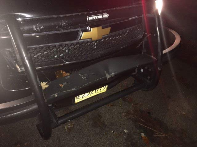Damage to patrol vehicle after chase in Tualatin. (Photo: Tualatin PD)