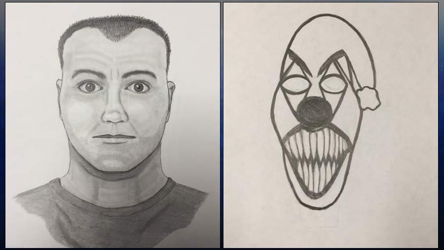 Sketch of carjacking suspect and clown tattoo on his right forearm. (Images: Milwaukie Police Department)