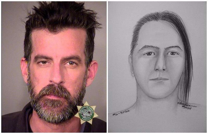 David Karl Nilsson, jail booking photo, and suspect sketch released by Portland police last month. (Images: Portland Police Bureau)