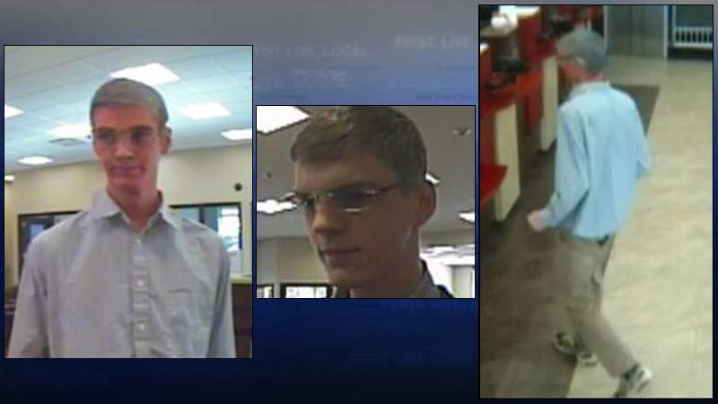 """Wanted bank robber known as the """"Harry Potter Bandit"""" has hit banks in Seattle and the Portland metro area (Images: Gresham PD and FBI)"""
