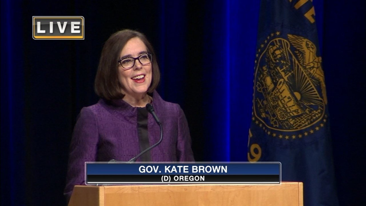 Kate Brown speaking to a crowd in Portland after being elected Governor of Oregon. (KPTV)