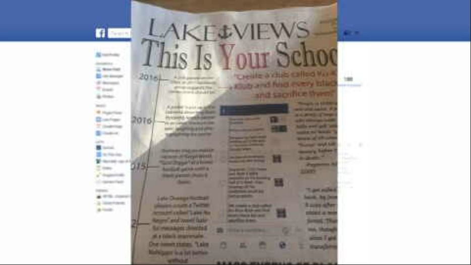 Picture of the LOHS student newspaper, which carries a screen shot of a hateful message posted on social media.