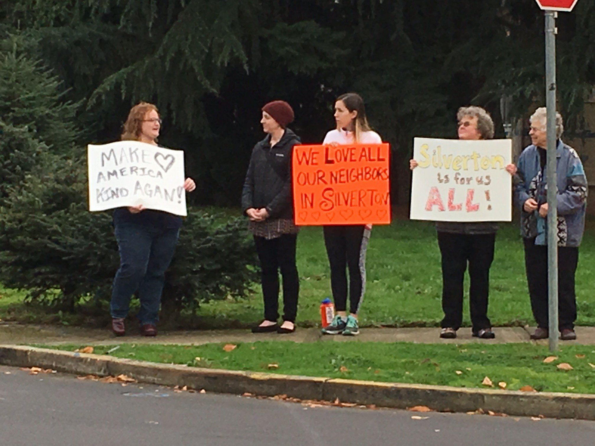 Community members gather in Silverton to support students targeted by racial slurs. (KPTV)