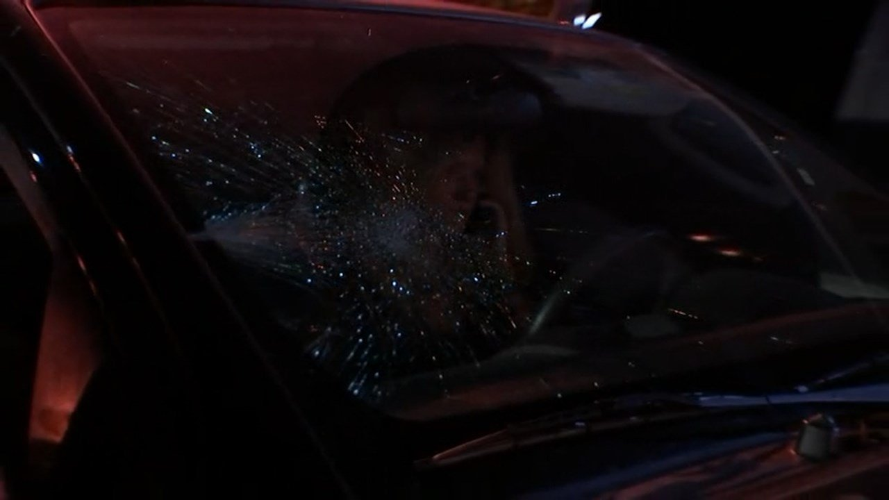 A driver said her windshield was smashed by protesters Thursday night. (KPTV)