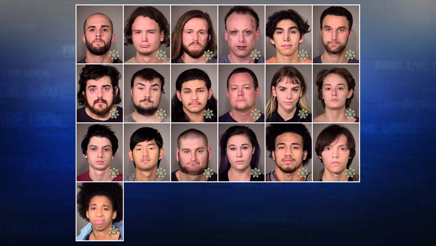 Photos of the 19 people booked into the Multnomah County Jail in connection with Thursday's protest and riot in Portland. (Photos: Portland Police Bureau)
