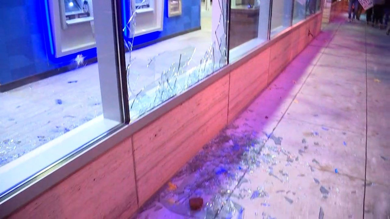 Damage from riot in Portland on Thursday. (KPTV)