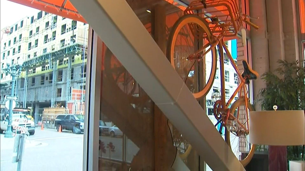 Windows at Pearl District shop Bella Casa were boarded up Friday after being shattered during protests Thursday night. (KPTV)