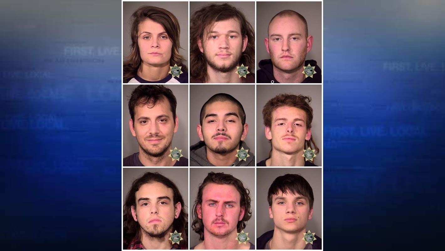 Jail booking photos of suspects arrested in connection with Friday night's protest. (Photo: Portland Police Bureau)