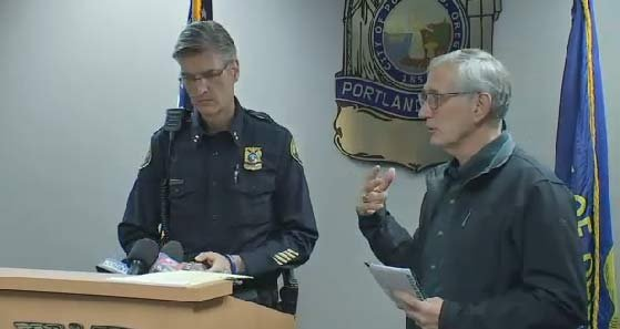 Chief Mike Marshman and Mayor Charlie Hales addressing the continuing protests in Portland on Saturday. (KPTV)
