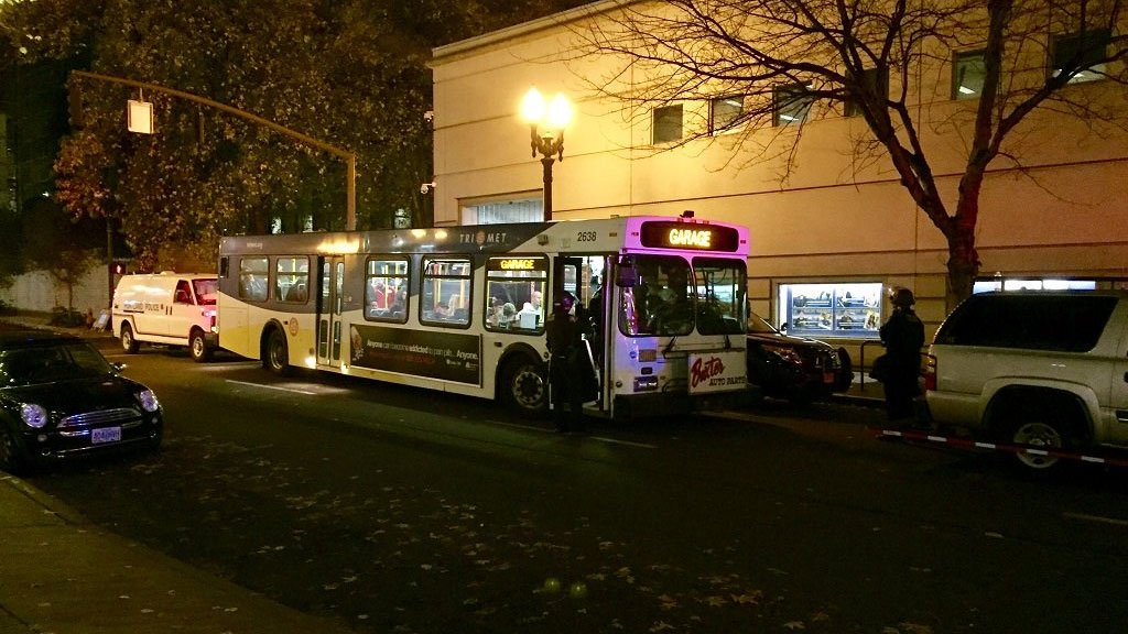 At one point due to high number of arrests Saturday, Portland police had to use a TriMet bus to take arrested protesters to the Central Precinct. (Portland Police Bureau)