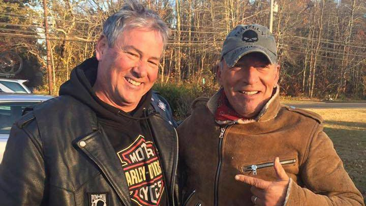 Dan Barkalow and a group from the Freehold American Legion was riding after a Veterans Day event Friday when they pulled over to help a stranded motorcyclist who turned out to be Bruce Springsteen. (Ryan Bailey via AP)