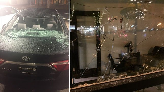 Some of the damage caused during Thursday night's march through Portland.