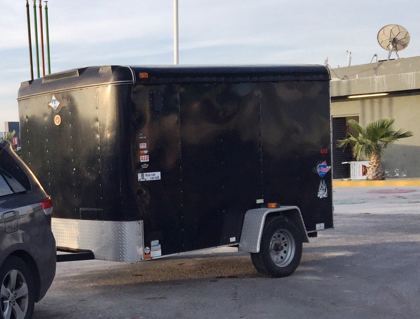 The side of Nunez' black trailer, stolen from his home.