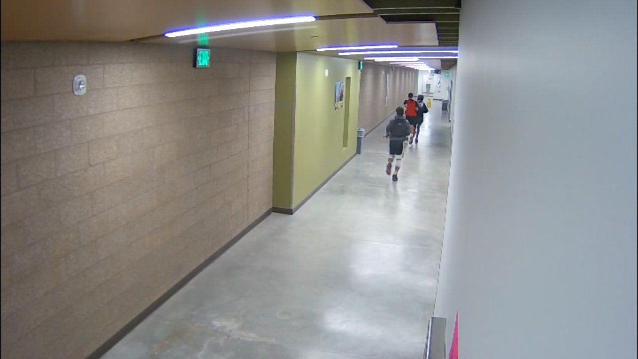 Surveillance image of students accused of flooding Roosevelt High School. (Image: Portland Public Schools/KPTV)