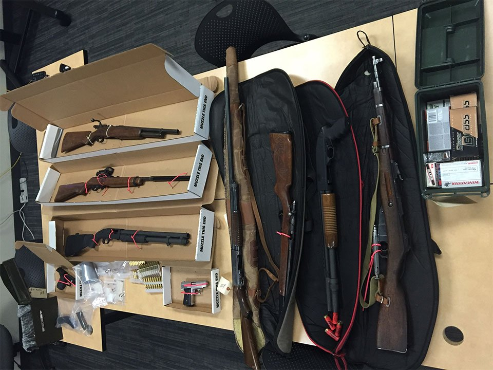 Guns found at Rathgeber's home on Saturday. (Courtesy: Vancouver Police Department)