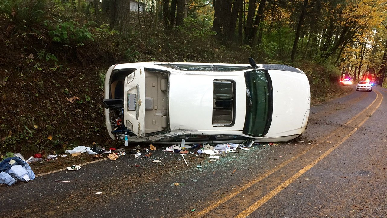 Deputies said an 18-year-old driving at a high rate of speed lost control of the car while attempting to turn a corner and rolled the vehicle several times, leading to injuries that killed one of the passengers. (Washington County Sheriff's Office)