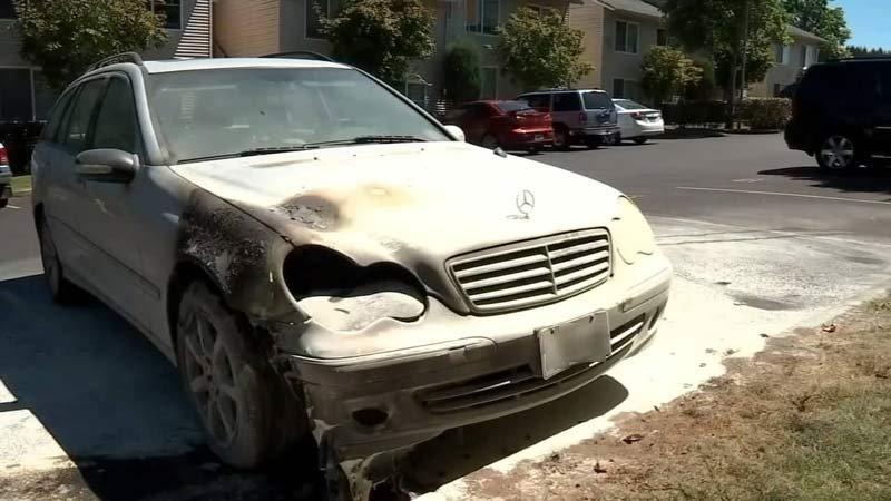 Damage to car outside Vancouver apartment complex in July (KPTV)