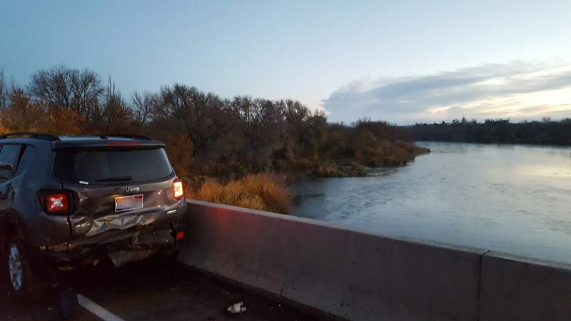 Photo from crash scene where man was thrown into the Snake River. (Photo: Oregon State Police)