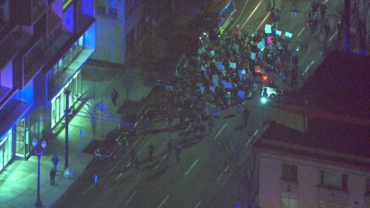 Protesters marching in Portland on Monday night. (Air 12/KPTV)