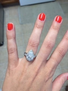Stacy Bone's pear-shaped diamond ring.