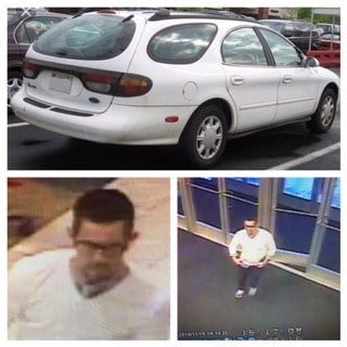Surveillance images of the suspect and a car similar to the getaway car in this case.