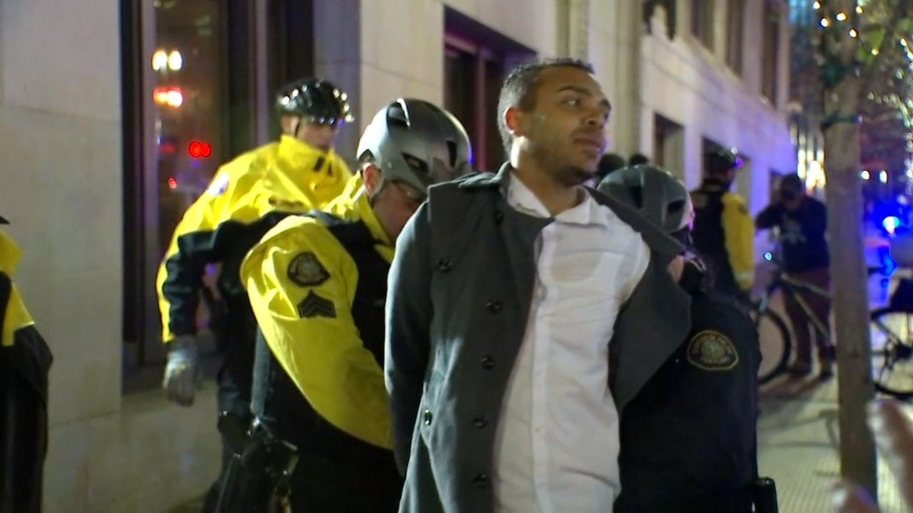 Gregory McKelvey being arrested during Monday nights protest in downtown Portland. (KPTV)