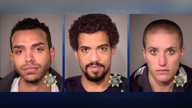 Gregory McKelvey (left), Micah Rhodes (center), Kathryn Stevens (right), jail booking photos (Courtesy: Multnomah County Jail)