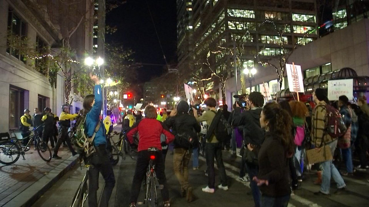 Protest in Portland on Monday (KPTV)