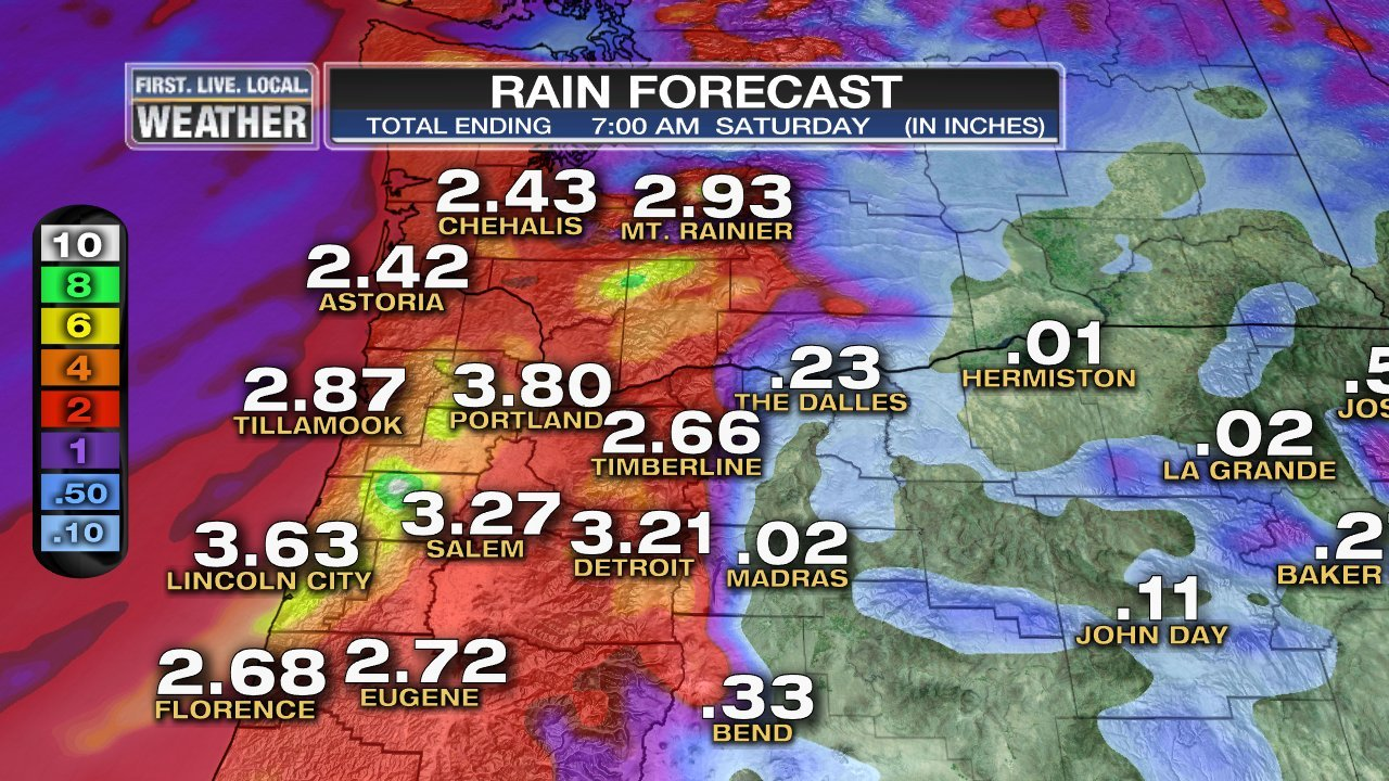 Parts of Oregon and Washington could see several inches of rain between Wednesday evening and Saturday morning.