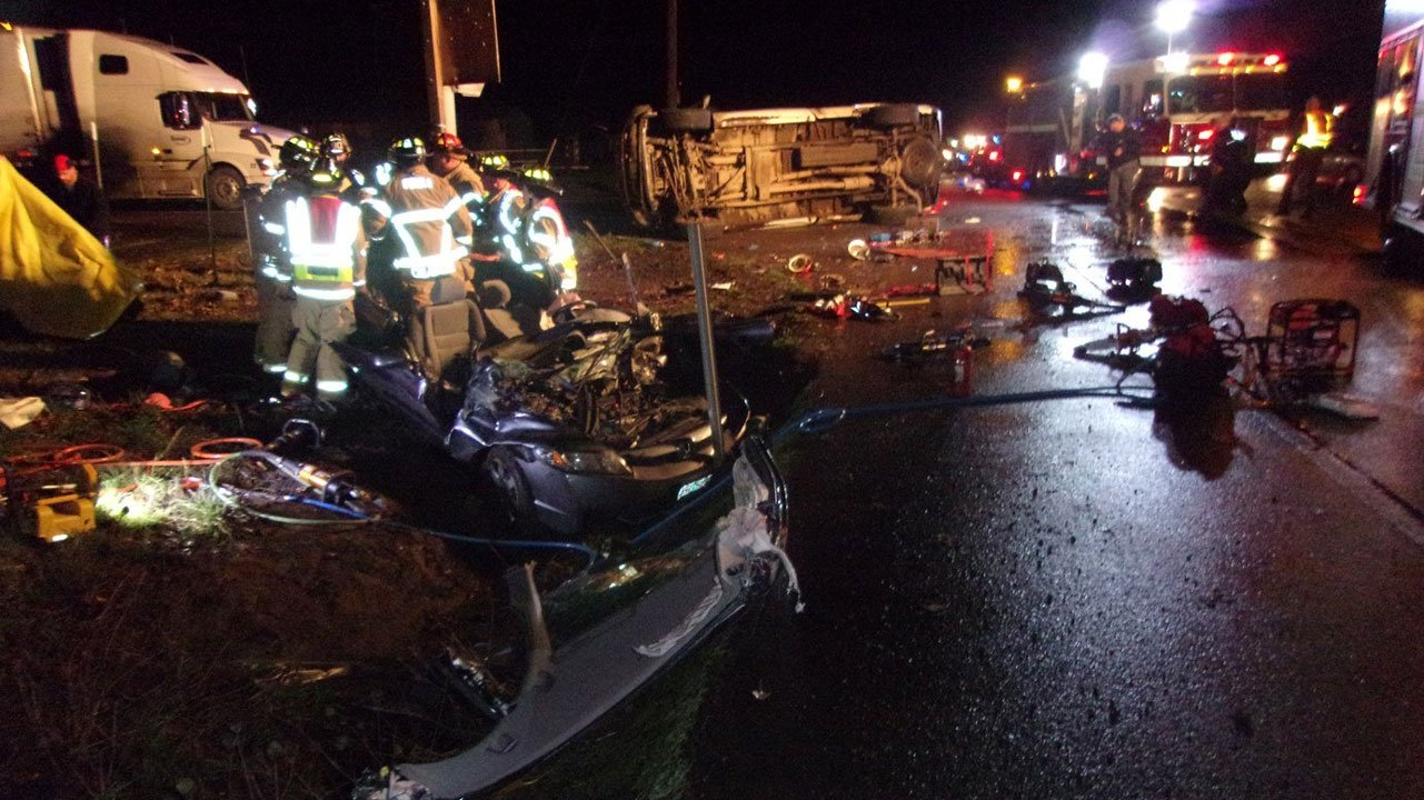 According to the Oregon State Police, a southbound driver t-boned a pickup attempting to cross Highway 99W in Polk County Saturday night, leaving the passenger in the truck dead and the driver of the other car with serious injuries. (Oregon State Police)