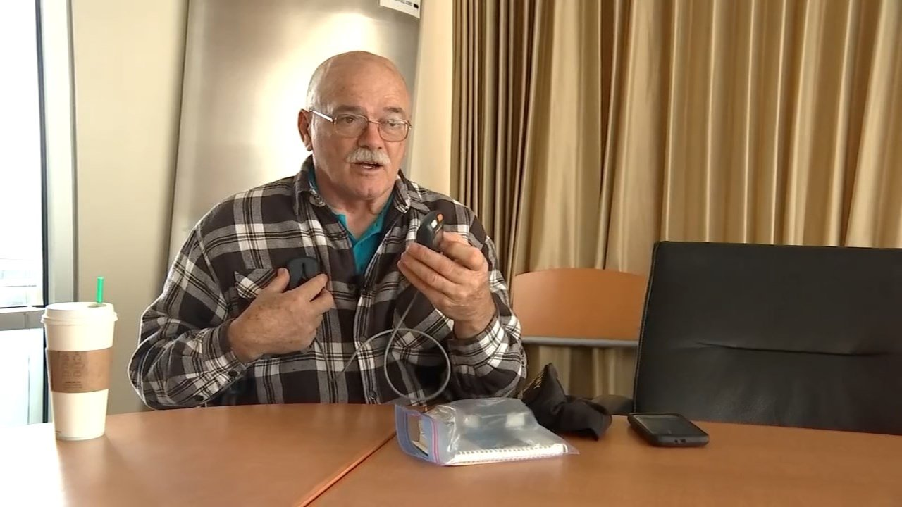 OHSU patient Herb Cronenwett will have a new device activated Wednesday that will work with electrodes inserted in his brain to help treat his essential tremors. (KPTV)