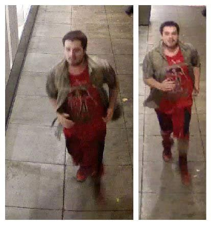 Surveillance image of wanted suspect accused of vandalizing Banana Republic during riot in downtown Portland. (Image released by Portland Police Bureau)
