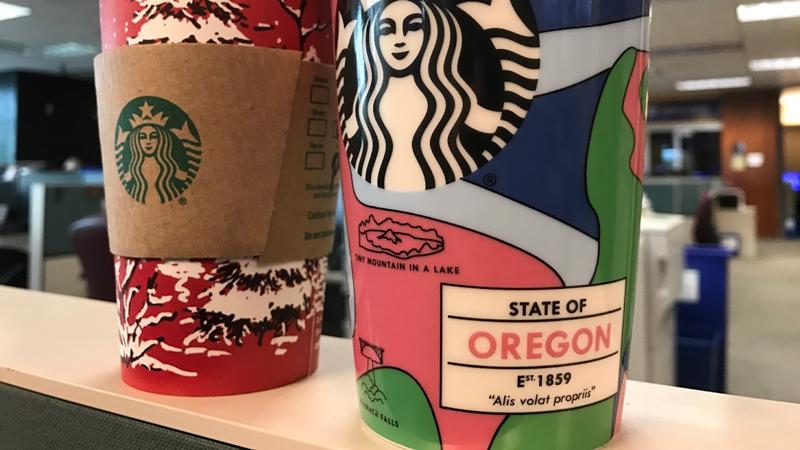 The Oregon Double Wall Traveler mug highlights various Oregon landmarks and cities (Photo: KPTV)