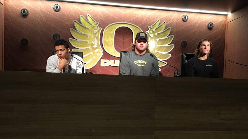 Ducks football players Troy Dye, Doug Brenner and Brady Breeze discuss the firing of coach Mark Helfrich. (Photo: Nick Krupke/KPTV)
