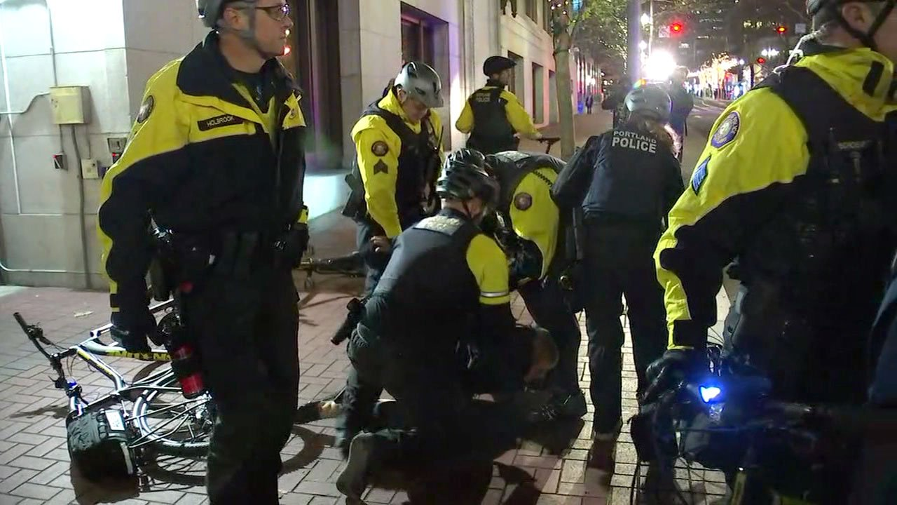 Portland police arrested Kathryn Stevens during a protest on November 21, and now fellow protester and arrestee Gregory McKelvey contends video he is posted on social media of the night shows police were trying to hurt Stevens. (KPTV)