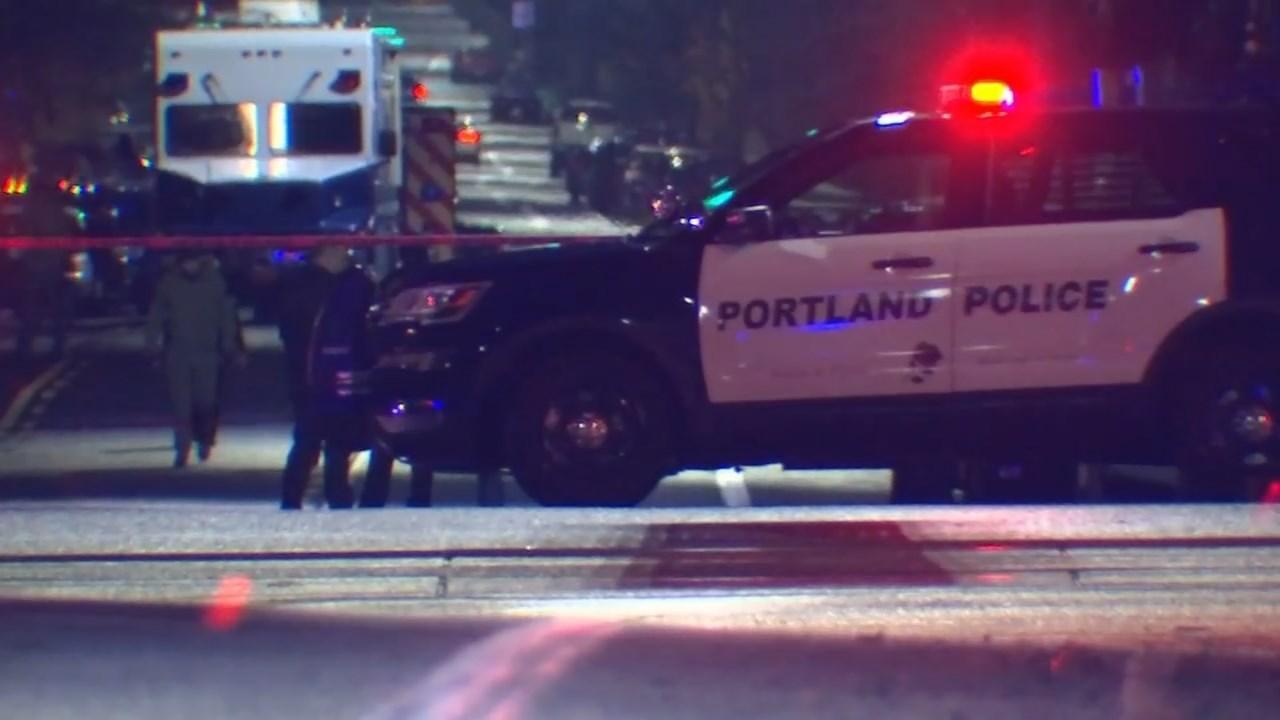 Officer-involved shooting scene in SE Portland on Monday night. (KPTV)