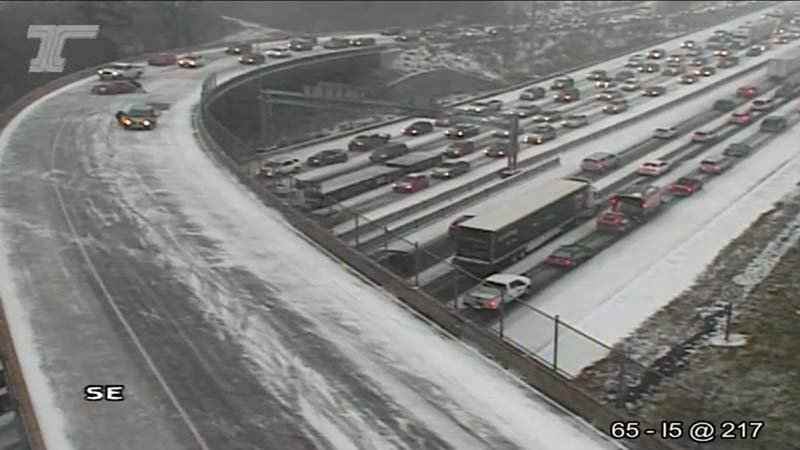 Wednesday's snow storm had traffic backed up all around the metro area (Image: ODOT)