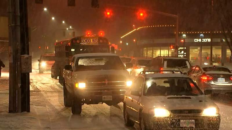 School districts announced closures for Thursday after a snowstorm hit the metro area Wednesday. (Source: KPTV)
