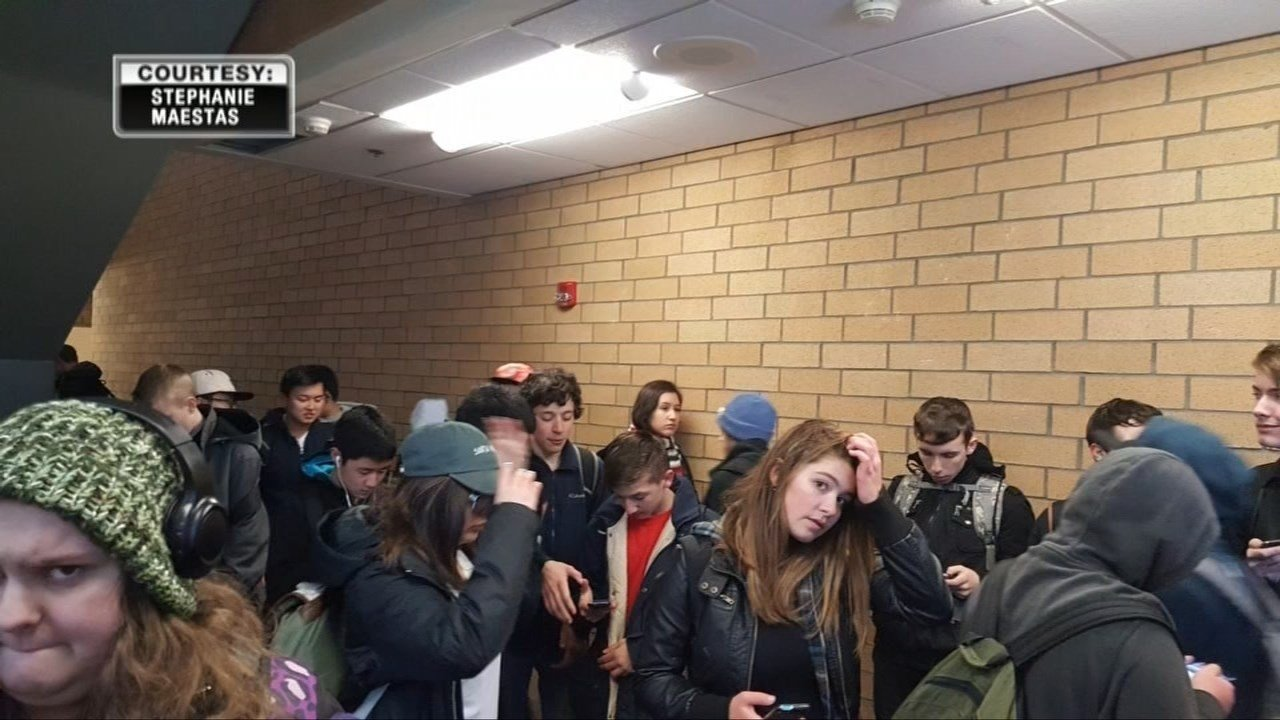 Photos from Clackamas High School student Stephanie Maestas show students packed into the school for hours after becoming stuck after district officials said a winter storm made roads unsafe for buses. (Stephanie Maestas)