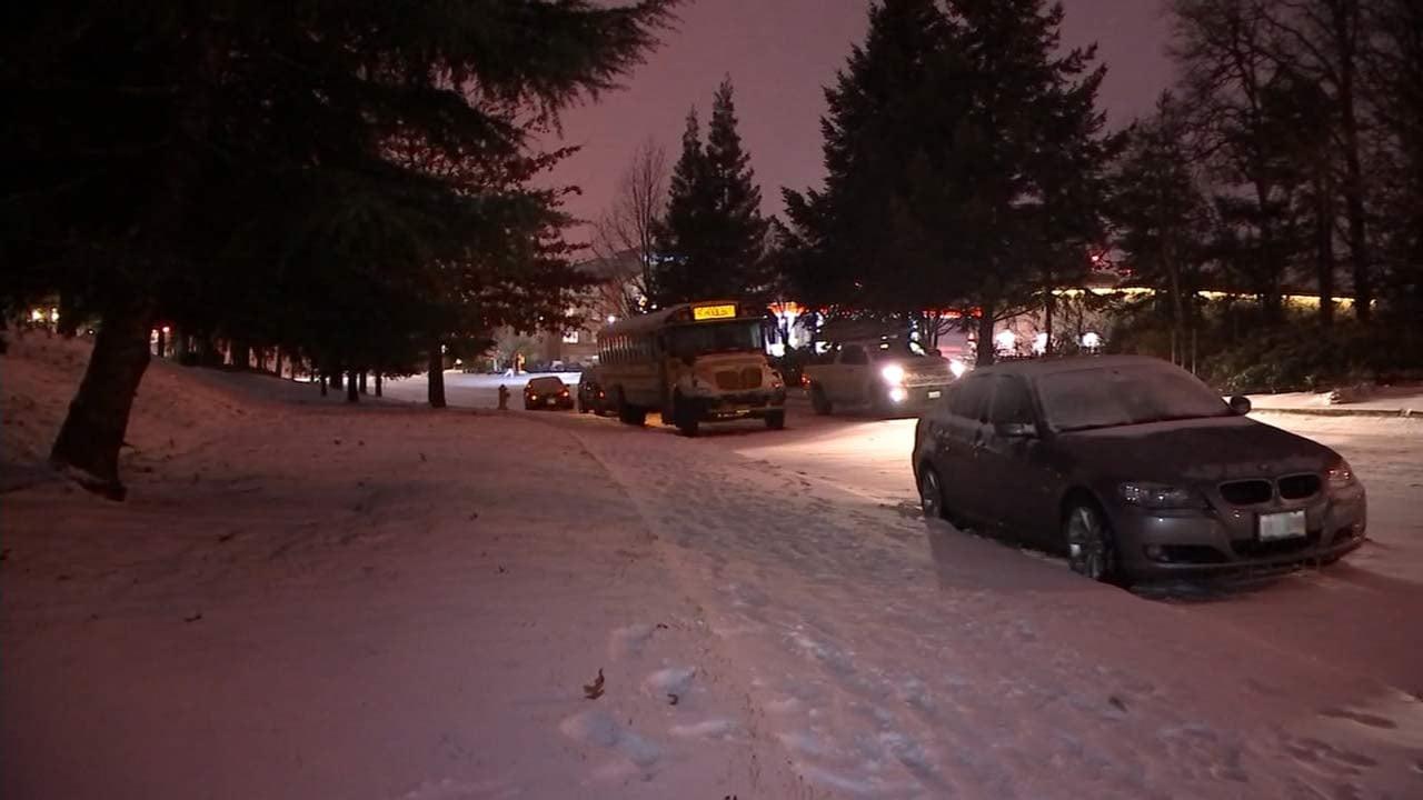 Bus stuck in Wednesday's snowstorm. (Image: KPTV)