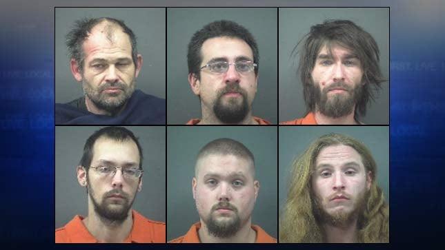 Jail booking photos of Wayne Rondo, Dalton Wise, Gregory Phillips, Jeffrey Paul, Dale Eason and Brandon Halberg