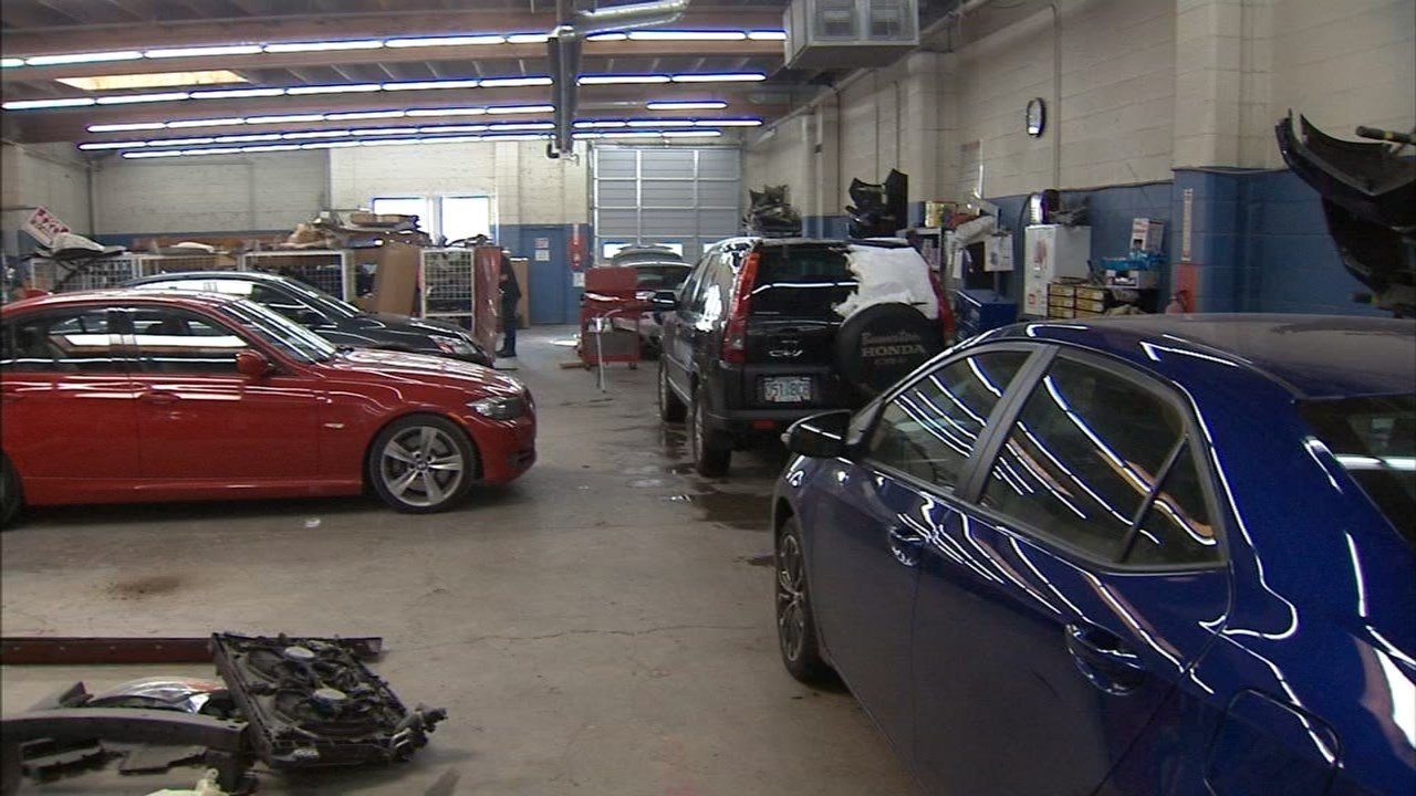 Technicians at Heitzman Body and Paint in Beaverton are already seeing many cars coming in for repairs following this week's winter storm and the icy roads it caused. (KPTV)