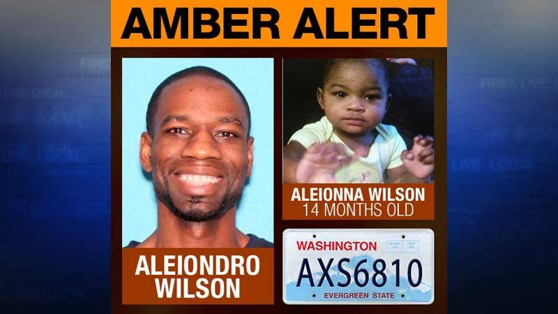 An Amber Alert was issued for Aleionna Wilson who was taken from a daycare by Aleiondro Wilson (Images: National Center for Missing & Exploited Children/KPTV)