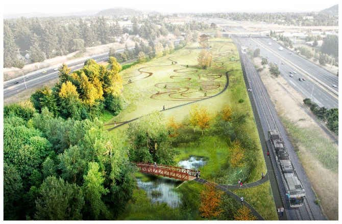 Rendering of Gateway Green. (Courtesy: Greenworks and Portland Parks & Recreation)