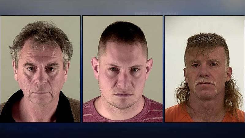 Jail booking photos of Grover Cockrum, Peter Davis and Jeffrey Worley.
