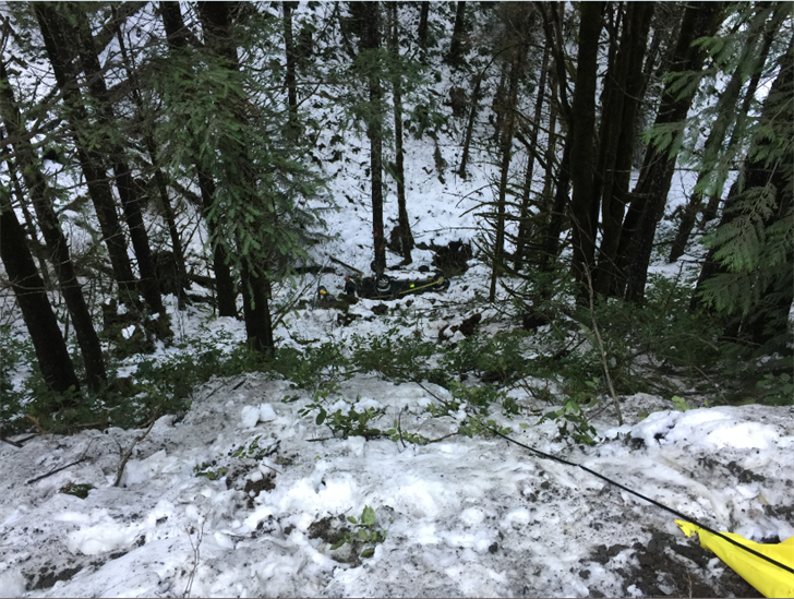 A log truck driver spotted the SUV of a missing Aloha man overturned in a ravine in Washington County Wednesday, and crews found the man deceased inside the vehicle. (Washington County Sheriff's Office)